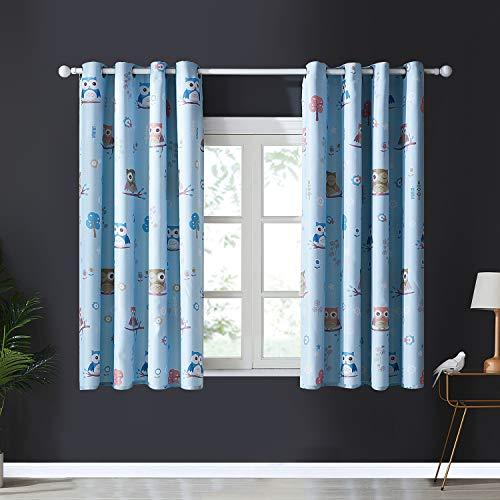 Topfinel Blickdichte Vorhänge mit Ösen Kurze Verdunkelungsvorhänge mit Eulenmustern Creme Hintergrundfarbe für Kinderzimmer Wohnnzimmer 2er Set je 137x117cm (HxB) Blau