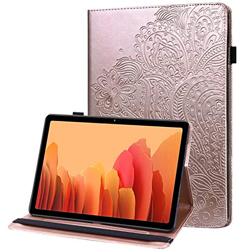 GLANDOTU case Samsung Galaxy Tab A7 10.4 SM-T500/T505 PU Leather Case lightweight Folio Flip Tablet Embossed Leather Cover Case with fold Stand Protective Shell-Rose gold