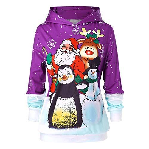 Dwevkeful Weihnachten Weihnachtsmann Hoodie Mädchen Winter Kapuzenpullover Rentier Sweatshirt Festlicher Pullover Geschenk Trainingsanzüge Sport Trainingsanzüge Winterpullover (5XL, Lila)