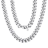 Men Stainless Steel Chain 9mm 20 inch Cuban Curb Link Necklace