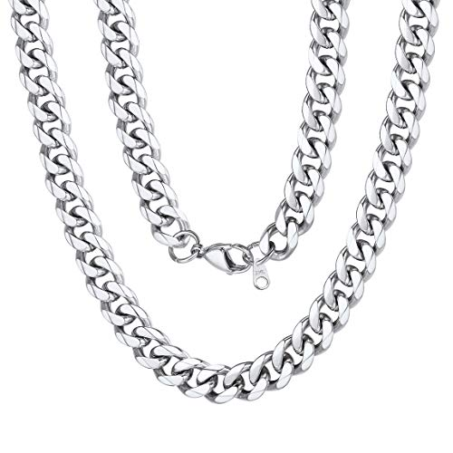 9mm Miami Mens Chain Boys Curb Cuban Link Stainless Steel Necklace Men s Silver