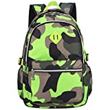 XLERHAZO School Backpack Camouflage Backpack Water Repellent Casual Daypack Lightweight Bookbags for Boys Girls (Camouflage Green)