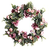 HooAMI 18' Door Wreath, Artificial Camellia Flower Front Door Wreaths for Spring Summer All Seasons, Floral Wreath Garland For Home Office Wall Decoration Wedding Party Festival Decor