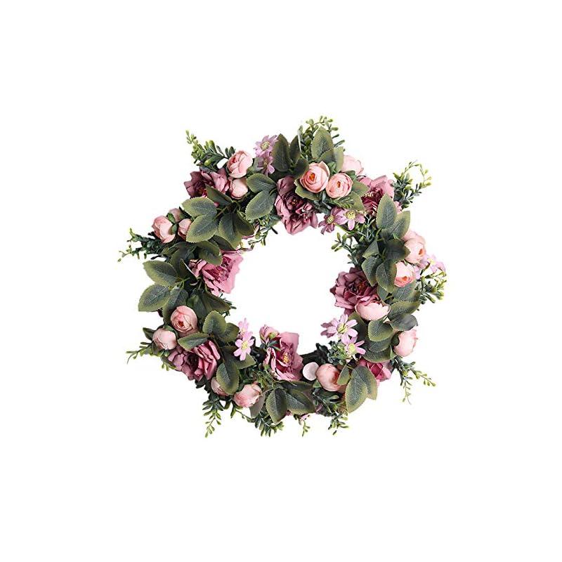 silk flower arrangements yeenee door wreath, artificial camellia flowers wreath, all seasons floral wreath, for front door living room wall garden wedding festival decor(45cm, pink)