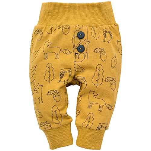 Pinokio - Secret Forest - Leggings mit elastischer Bund Jungen Unisex Baby Kinder Hosen mit Druck 95% Baumwolle Jogginghose Haremshose Gelb 56 62 68 74 80 86 92 98 cm (68 cm, Gelb)