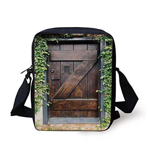Rustic Decor,Small Spanish Style Dark Stained Wood Door Secret Garden with Grated Window Art Picture,Brown Green Print Kids Crossbody Messenger Bag Purse