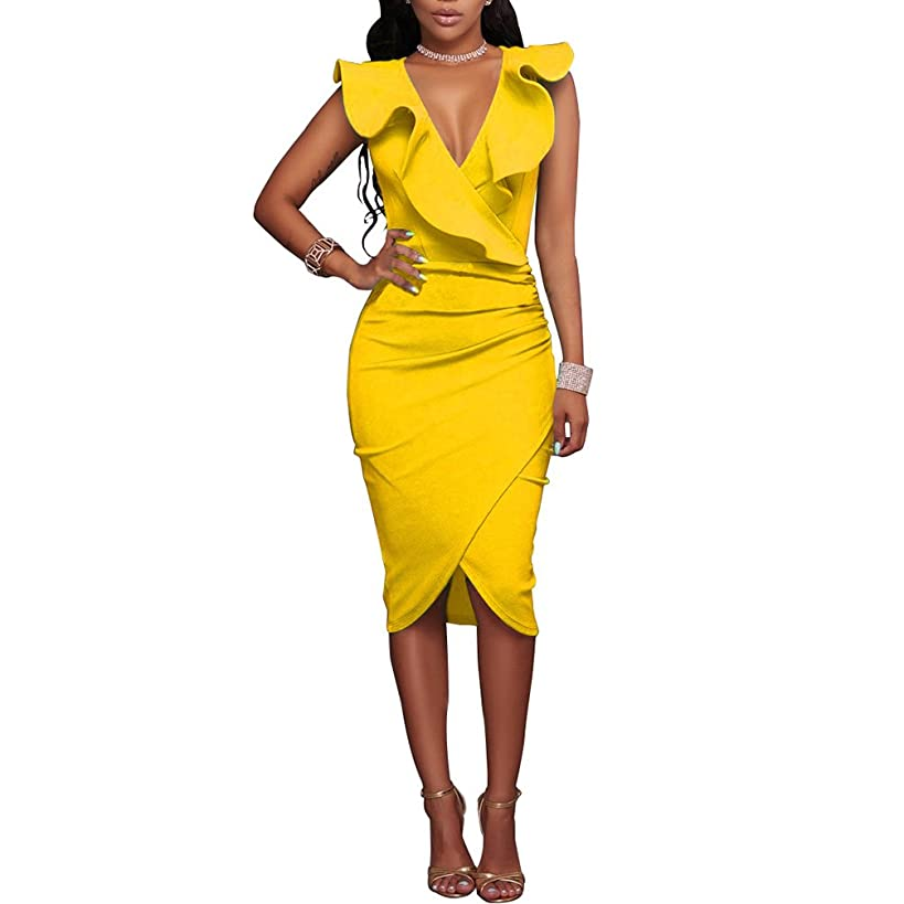 Fire Kirin Women's Ruffles V-Neck Ruched Cocktail Club Evening Party Falbala Bodycon Dress