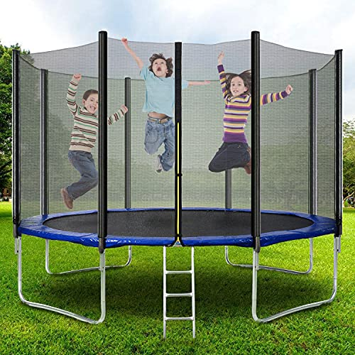 MOWIN 6FT 8FT 10FT 12FT 14FT Premium Jumping Trampoline, High Specification with Safety Enlosure Netting Jumping Mat Ladder Anchor Kit, Outdoor Garden Trampoline for Adults/Kids (6FT)