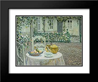The Pink Tablecloth 24x20 Black Modern Frame and Double Matted Art Print by Le Sidaner, Henri