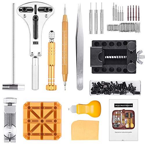 STARTO 149 Pezzi Tool Kit di Riparazione orologi Professionale Strumenti Portable Set Orologiaio Attrezzi di Apertura Orologi e kit di Con Bustina TF58