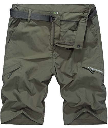 Vcansion Men's Outdoor Lightweight Hiking Shorts Quick Dry Shorts Sports Casual Shorts Army Green US 32