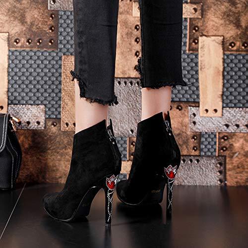Shukun laarsjes korte buizen en neklaarzen waterdicht platform hoge hak laarzen mode stiletto laarzen kinderen hoge hakken herfst en winter