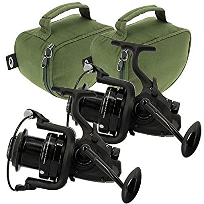 2x NGT Dynamic 7000 10BB Large Big Pit Carp Runner Coarse Fishing Reels with Spare Spool & Deluxe Padded Cases with Handles by DNA