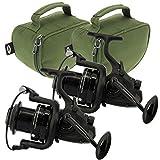 2 X NGT Dynamisch 7000 10BB Groß Big Pit Karpfen Läufer Friedfischangeln Reels mit Ersatz Spule &...
