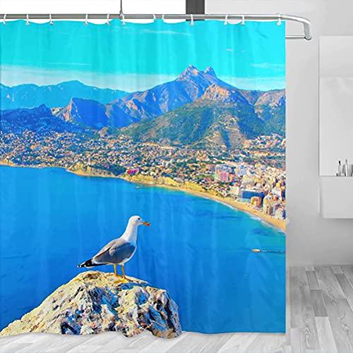 Spain Gaviota Calpe Alicante Cortina de Ducha Viaje Baño Decoración Set Con Ganchos Poliéster 72x72inch (YL-05434)