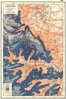 First World WAR Western Front. Lens & Arras. 1915-17 Battle Lines. WW1-1920 - Old map - Antique map - Vintage map - Printed maps of Pas-de-Calais