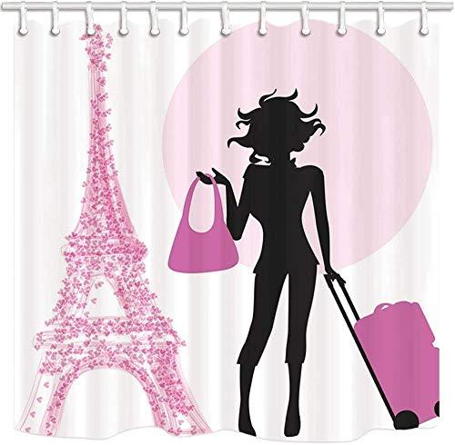 lovedomi Dibujos Animados París Torre Eiffel Chica Tirando la Maleta Diseño Estilo Patrón Impresión 3D Cortina Ducha Material poliéster Impermeable 72X72 Pulgadas 12 Ganchos Colgante baño hogar