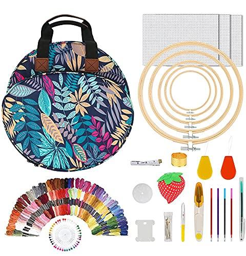 Kit de accesorios de bordado 206 piezas, Yideng Juego de herramientas de punto de cruz con bolsa de proyecto de bordado portátil, 100 hilos de colores Kit de inicio de bordado para principiantes