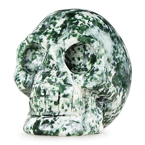 Artistone 2.0' Crystal Skull Statues,Hand Carved Human Skeleton Figurines Head Bone Art Sculpture Reiki Healing Stone Statue Personality Bar,Home,Office,Art Room Decoration(Green Dot Stone)