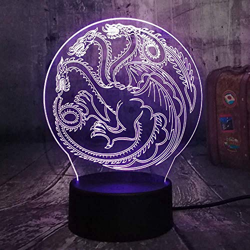 YOUPING Game of Thrones House Targaryen Mother of Dragons Forever A Song of Ice and Fire Acrylic 3D RGB Night Light USB Touch Remote Table Lamp Home Decor Christmas Colorful Lampara