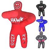 Hawk Sports Kids Grappling Dummy for Kids BJJ Wrestling Dummy Punching Bag MMA Brazilian Jiu Jitsu Children Judo Youth Throwing Boxing Dummy Dummies UNFILLED (Red)