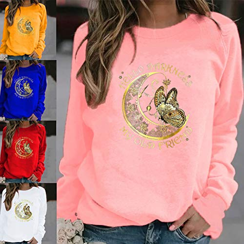 kdjsic Women Long Sleeve Crewneck Sweatshirt Moon and Butterfly T Shirt My Old Friend Letters Printed Casual Loose Pullover Top