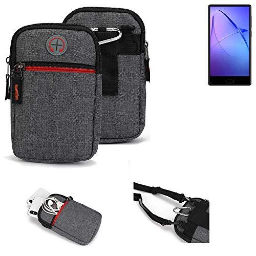K-S-Trade® Gürtel-Tasche Für Leagoo KIICA Mix Handy-Tasche Holster Schutz-hülle Grau Zusatzfächer 1x