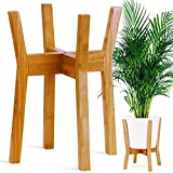 GreeMoose Plant Stand Mid Century Indoor, Bamboo, Wooden, Adjustable (8-12 Inch), Tall Modern Plant...