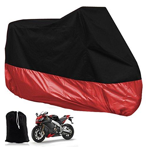 KING'SRIDER Copertura traspirante Protezione Coprire Moto Velo VTT Moto Scooter Bache Impermeabile e anti-UV S ac archiviazione incluso Nero / Rosso XL Dimensioni 245X105X125 CM