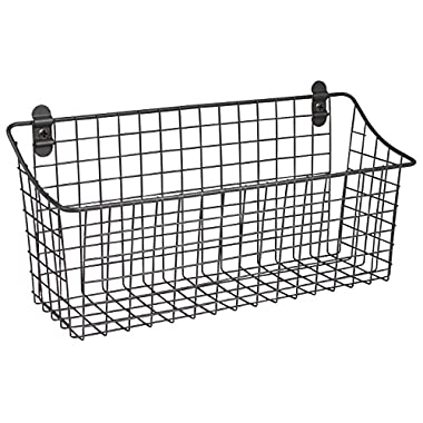 Spectrum Diversified Vintage Wall Mount Storage Basket, 15  x 5  x 7 , Industrial Gray