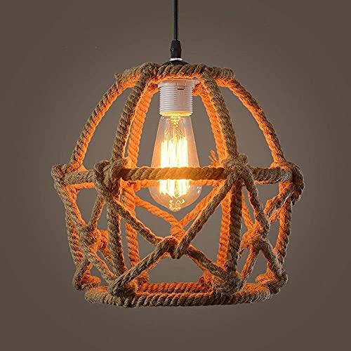 LLLKKK Lámpara de araña creativa industrial, pequeña, club, dormitorio, salón, supermercado, lámpara colgante, 11,02 pulgadas, retro, 1 luz, cuerda de cáñamo tejida a mano