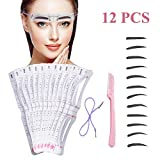 Eyebrow Stencil,12 Pcs Eyebrow Shaping Kit Reusable Eyebrow Microblading Template With Strap, Washable Eyebrow Assistant Tool,Eyebrows Grooming Stencil Kit Eyebrow Drawing Guide Card &Razor (White)