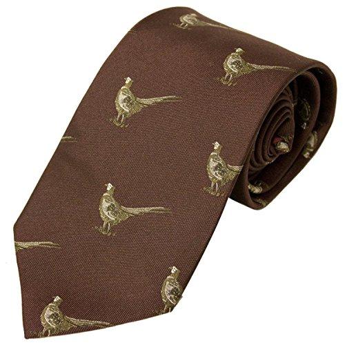 Bisley Pheasants Burgandy 100% Silk Tie - Shooting and hunting - Handmade