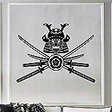 supmsds Etiqueta de Vinilo extraíble para el hogar Guerrero Samurai Máscara Japonesa Pegatinas de Pared Arte Sala de Estar Corte Papel de Pared Decoración del hogar Mural 102X140 CM