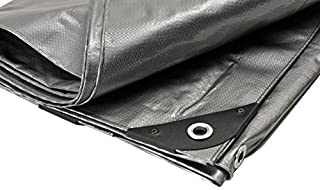 Canopies and Tarps Silver Poly Premium Heavy-Duty Tarp, 8' x 16' - 100% Shade Protection, Waterproof 14 x 14 Weave Design