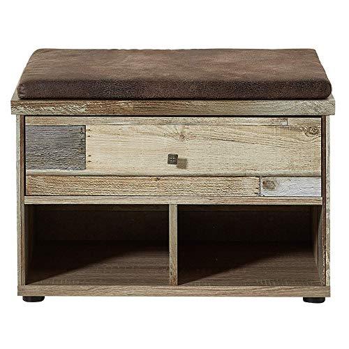 Bonanza Vintage Schuhbank mit Sitzfläche in Driftwood Optik - bequeme Retro Sitzbank mit Stauraum für Ihren Flur - 67 x 47 x 40 cm (B/H/T)