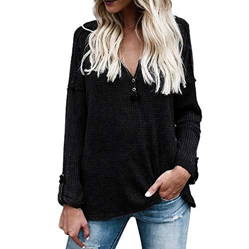 Alikeey Damestrui lover gebreid tuniek blouse stropdas knopen henley tops vleermuis vleermuis vleugel effen shirt