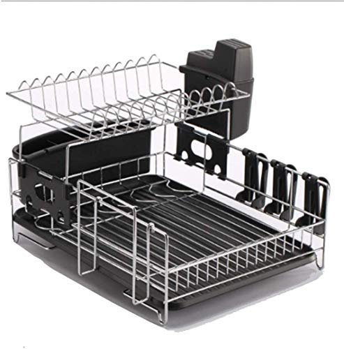 Dish Drying Rack, Stainless steel multifunction double layer drain pan for kitchen, shelf Dish Drainer Drying Rack with Utensil Holder 720