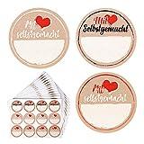 FLOFIA 180 Stück Etiketten Marmelade Aufkleber Einmachgläser Marmeladenglas Sticker Mit Liebe...