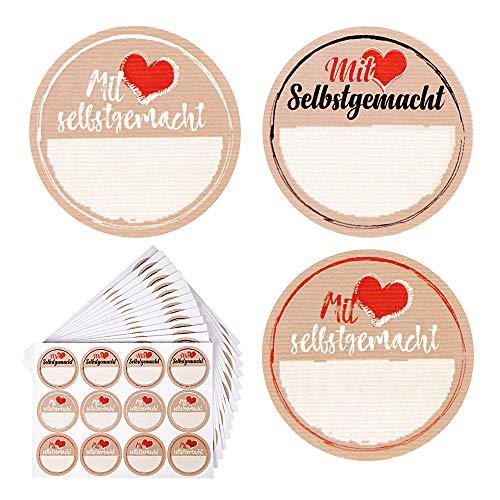 FLOFIA 180 Stück Etiketten Marmelade Aufkleber Einmachgläser Marmeladenglas Sticker Mit Liebe Selbstgemacht Etiketten Selbstklebend Aufkleber Handmade Selbstgemachtes 40mm für Likör Küche