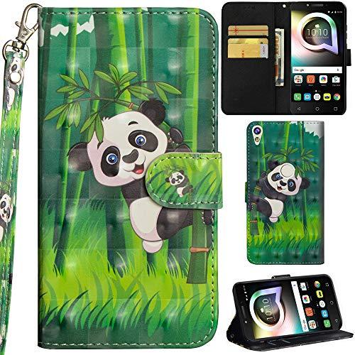 Ooboom Alcatel Shine lite 5080X Hülle 3D Flip PU Leder Schutzhülle Handy Tasche Case Cover Ständer mit Trageschlaufe Magnetverschluss für Alcatel Shine lite 5080X - Panda Bambus