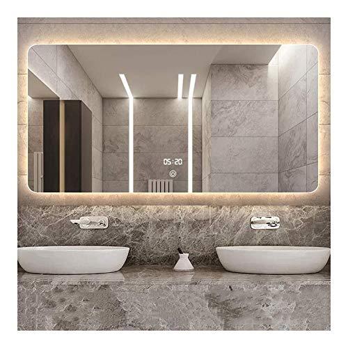 Badkamerspiegel Moderne Dimbare Make-up Wandspiegel Rechthoekig Met Verlichte Verlichting Aanraakschakelaar Antimist (Size : 75cm*120cm(29.5in*47.2in))