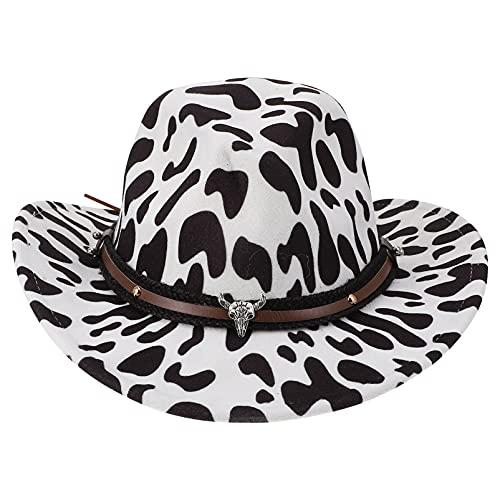 Unomor Cappelli da Cowboy Bianco Cowgirl Cappello di Grano della Mucca Modello- Faux Feltro Occidentale Cappello da Cowboy Fedora all' Aperto Cappello Largo con La Cinghia- Adatto per Le
