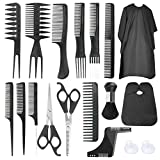 Luckit Hair Cutting Kit, 16 Pcs Professional Haircut Scissors Set Thining Shears With 2 Capes, Hairdressing Scissors, Combs, Beard Shear for Barber, DIY Hair Salon, Home Use