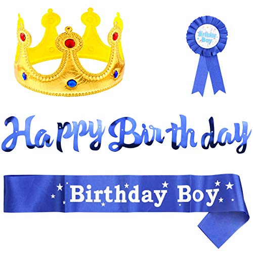 Fireboomoon Birthday Boy Party Accessory Set,Birthday Golden King Crown,Birthday Boy Sash,Birthday Banner and Boy Button Pins for Boys Birthday Dress-Up and Decoration