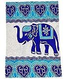 Goods4good Decoración con Diseño de Mandala Elefantes Ideal Cubre Sofa Colcha Cama Pareo Playa Picnic Familiar Grande 210x240cm 100% Algodón (Turquesa 2)
