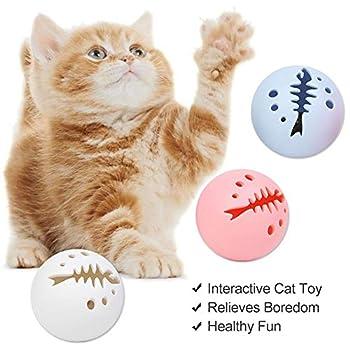 Balles pour chat avec boule de lumière, boule d'herbe à chat, boule d'herbe à chat, boule d'exercice interactif pour chaton sonnette, bleu, rose et blanc Ensemble cadeau complet – Lot de 3