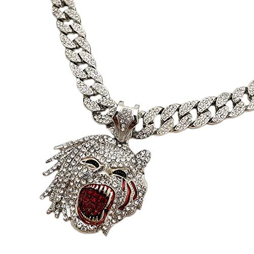 Hip Hop Half Man Half Beast Pendant & 18' Full Iced Cuban Choker Chain Necklace