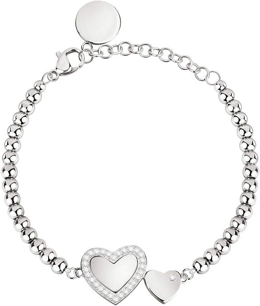 Morellato, bracciale da donna, collezione love, in acciaio e cristalli S0R24