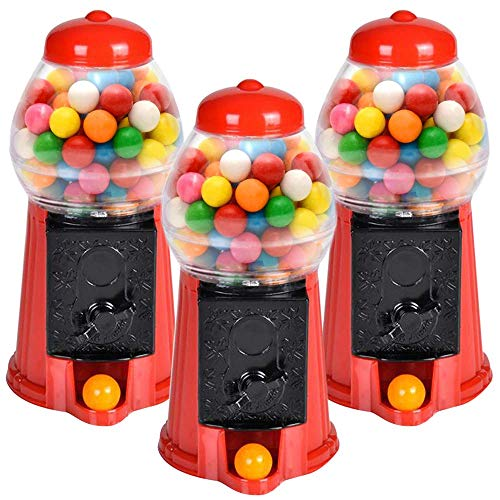 ArtCreativity Gumball Machine for Kids, Set of 3, 6.5 Inch Desktop Bubble Gum Mini Candy Dispenser, Unique Money Saving Coin Bank, Best Gift or Vintage Office Desk Decoration (Gumballs not Included)